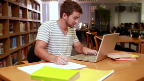 Happy student studying stock footage