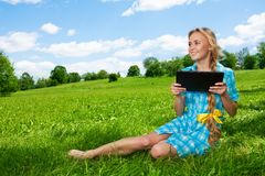 Happy student with tablet pc Stock Images