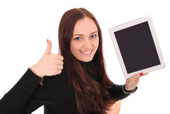 Happy student teenage girl with tablet pc, holding thumb up. Stock Images