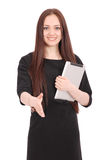 Happy student teenage girl with tablet pc. Royalty Free Stock Photos