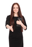 Happy student teenage girl with tablet pc Royalty Free Stock Photo