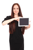 Happy student teenage girl with tablet pc. Isolated on white Stock Image