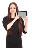 Happy student teenage girl with tablet pc. Stock Photography