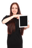 Happy student teenage girl with tablet pc. Royalty Free Stock Photo