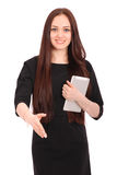 Happy student teenage girl with tablet pc Stock Photos