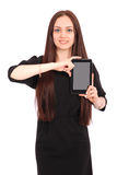 Happy student teenage girl with tablet pc. Royalty Free Stock Image