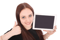 Happy student teenage girl with tablet pc. Sitting sideways and Stock Photography