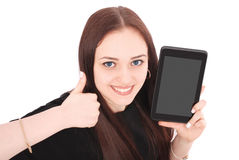 Happy student teenage girl with tablet pc. Sitting sideways and Stock Photo