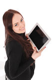 Happy student teenage girl with tablet pc Royalty Free Stock Photos