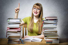 Happy student woman with books Royalty Free Stock Image