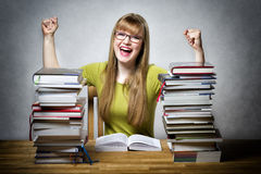 Happy student woman with books Royalty Free Stock Images