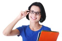 Happy student woman with notebooks. Isoalted on white background Royalty Free Stock Photos