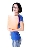 Happy student woman with notebooks. Isoalted on white background Royalty Free Stock Photography
