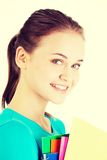 Happy student woman with notebooks.  Royalty Free Stock Photo