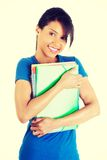 Happy student woman with notebooks.  Royalty Free Stock Images