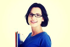 Happy student woman with notebooks.  Stock Image