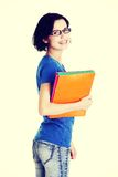 Happy student woman with notebooks.  Stock Images