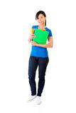 Happy student woman with notebooks. Isoalted on white background Royalty Free Stock Image