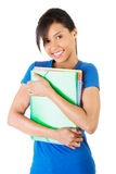 Happy student woman with notebooks Stock Photo