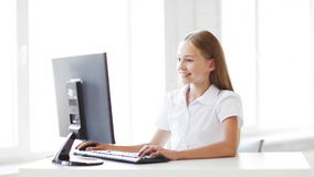 Happy student working with computer stock video