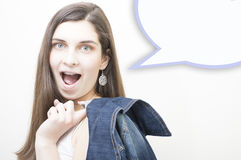 Happy student young woman on white copyspace background and bubble stock images