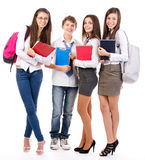 Happy students. Group of happy students  standing  on white background Royalty Free Stock Photo