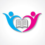 Happy students with book icon. educational symbol Stock Images