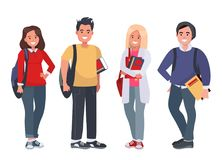 Happy students with books on an isolated background. Young people with books and backpacks. Vector illustration Royalty Free Stock Photography