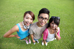 Happy students in campus Stock Photo
