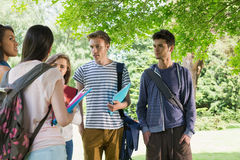 Happy students chatting together outside Royalty Free Stock Photos