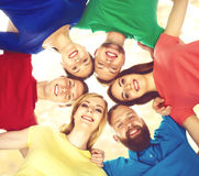 Happy students in colorful clothing standing together. Education. Group of smiling students staying together. School , education, college, university: concept Stock Photos