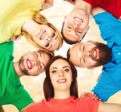 Happy students in colorful clothing standing together. Education. Group of smiling students staying together. School , education, college, university: concept Stock Photo