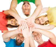 Group of happy students staying together. Royalty Free Stock Photos