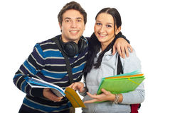 Happy students couple embrace Stock Photo