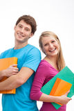 Happy students. Happy fresh students of university holding a files Royalty Free Stock Photos