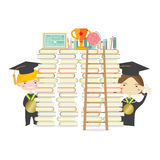 Happy Students With Golden Medal And Ladder Represent Education Concept Royalty Free Stock Image