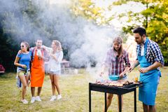 Happy students having barbecue on summer day royalty free stock images