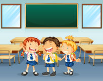Happy students. Illustration of happy students inside the classroom Royalty Free Stock Photos