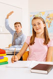 Happy Students In The Classroom Stock Images