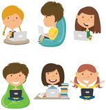 Happy students learn and do homework by computer stock image