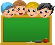 Happy Students Looking at Empty Blackboard Stock Image