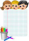 Happy Students Looking at Empty Squared Sheet Stock Photo