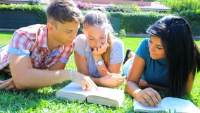 Happy students reading books in college Royalty Free Stock Image