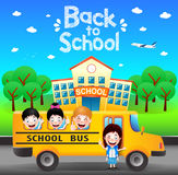 Happy Students Riding School Bus Going Back to School Royalty Free Stock Image
