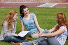Happy students sitting together Stock Photos