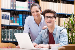 Happy students studing together Stock Photography