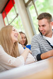 Happy students talking Royalty Free Stock Photography