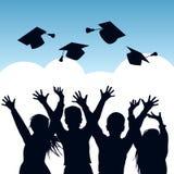 Silhouettes of Graduates stock illustration. Illustration ...