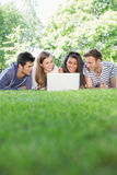 Happy students using laptop outside. At the university Stock Photos