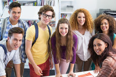 Happy students working together Royalty Free Stock Images
